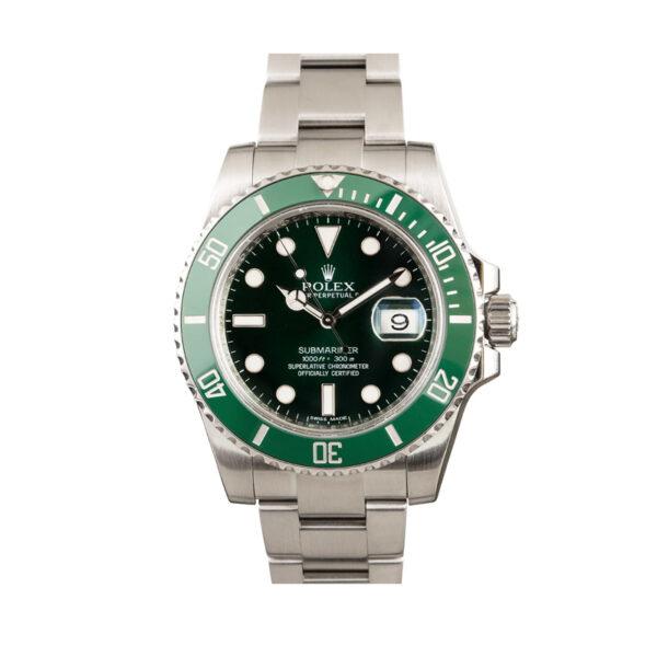 Hombres de acero inoxidable Rolex Submariner Hulk 116610LV Réplica Verde