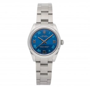 Replica Damas Rolex Oyster Perpetual 177200 Dial Azul Mecánico Automático