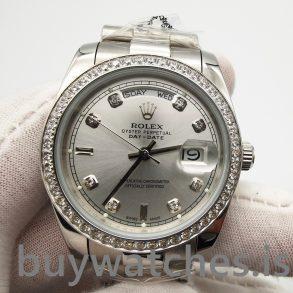 Rolex Day-date 118346 Reloj automático gris plateado con diamantes de 36 mm