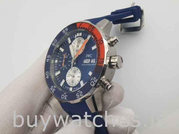 IWC Aquatimer IW376704 Reloj automático redondo de caucho azul de 44 mm