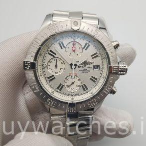 Breitling Super Avenger A13370 Reloj automático de acero blanco de 48 mm