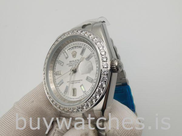 Rolex Day-Date 228349RBR Reloj para hombre con esfera plateada de 40 mm