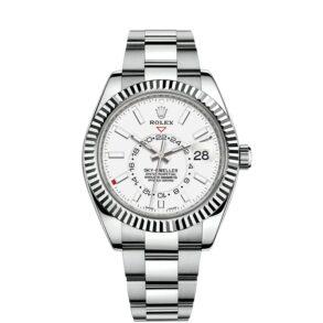 Rolex Sky-Dweller 326934 Reloj de acero para hombre de 42 mm con esfera blanca