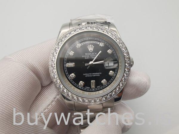 Rolex Day-Date 228349RBR Reloj para hombre con esfera negra de 40 mm