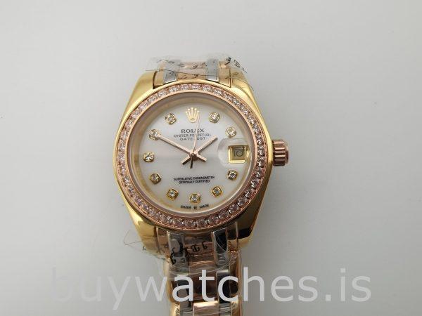 Rolex Datejust 80299 Reloj para mujer de oro de 18 k con esfera blanca de 29 mm