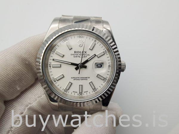 Rolex Datejust 116300 Reloj de acero para hombre con esfera blanca de 41 mm