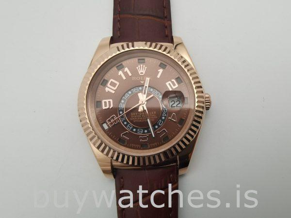 Rolex Sky-Dweller 326135 Reloj de cuero con esfera de chocolate de 42 mm