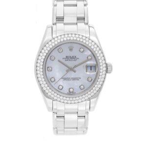 Rolex Datejust 81339 Dial blanco 34mm Reloj para dama con 31 joyas