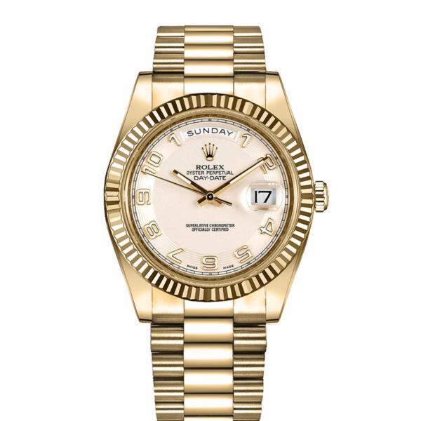 Rolex Day-Date II 218238 Reloj para hombre con esfera plateada de 41 mm