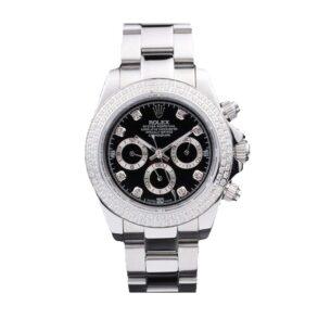 Rolex Daytona Reloj de 40 mm para mujer con esfera negra con diamantes