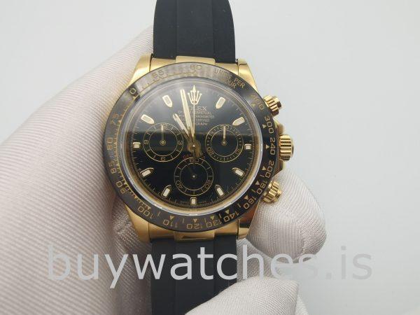 Rolex Cosmograph Daytona Reloj para hombre de 40 mm con esfera negra