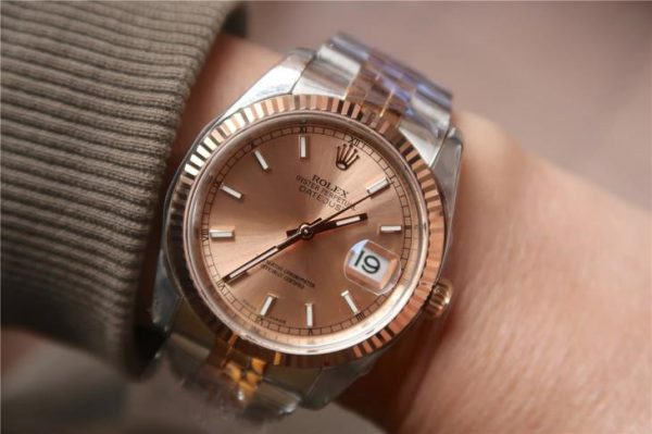 Rolex Datejust 116231 Replica Reloj plateado de 36 mm con esfera de oro rosa
